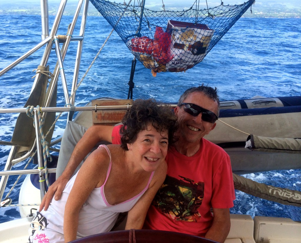 The Captain and Me (still in my pajamas) getting ready to set sail