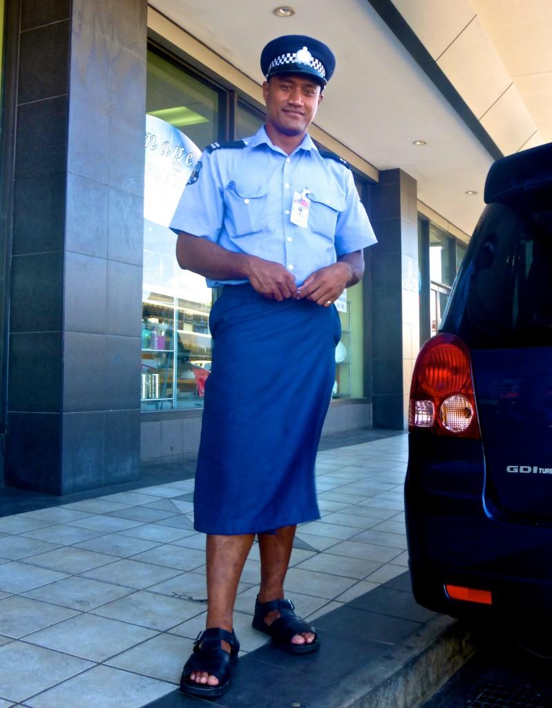 Samoan Policeman in Lava Lava Uniform