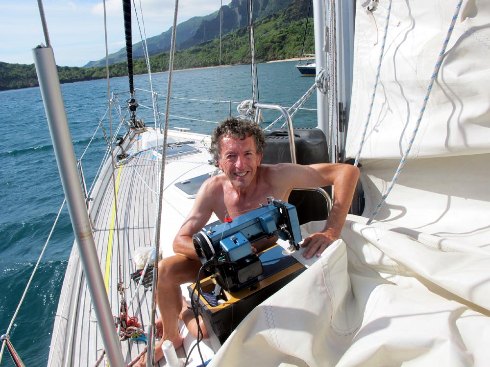 Captain Repairing Mainsail