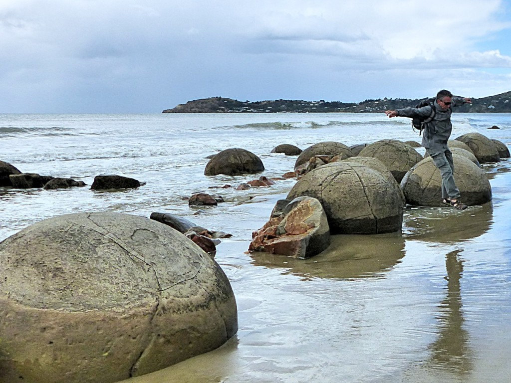 Captain Launching Off The Moeraki Boulders