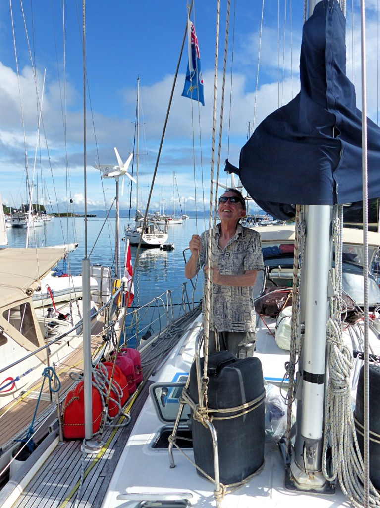 Hoisting The Courtesy Flag After Clearing Into Fiji