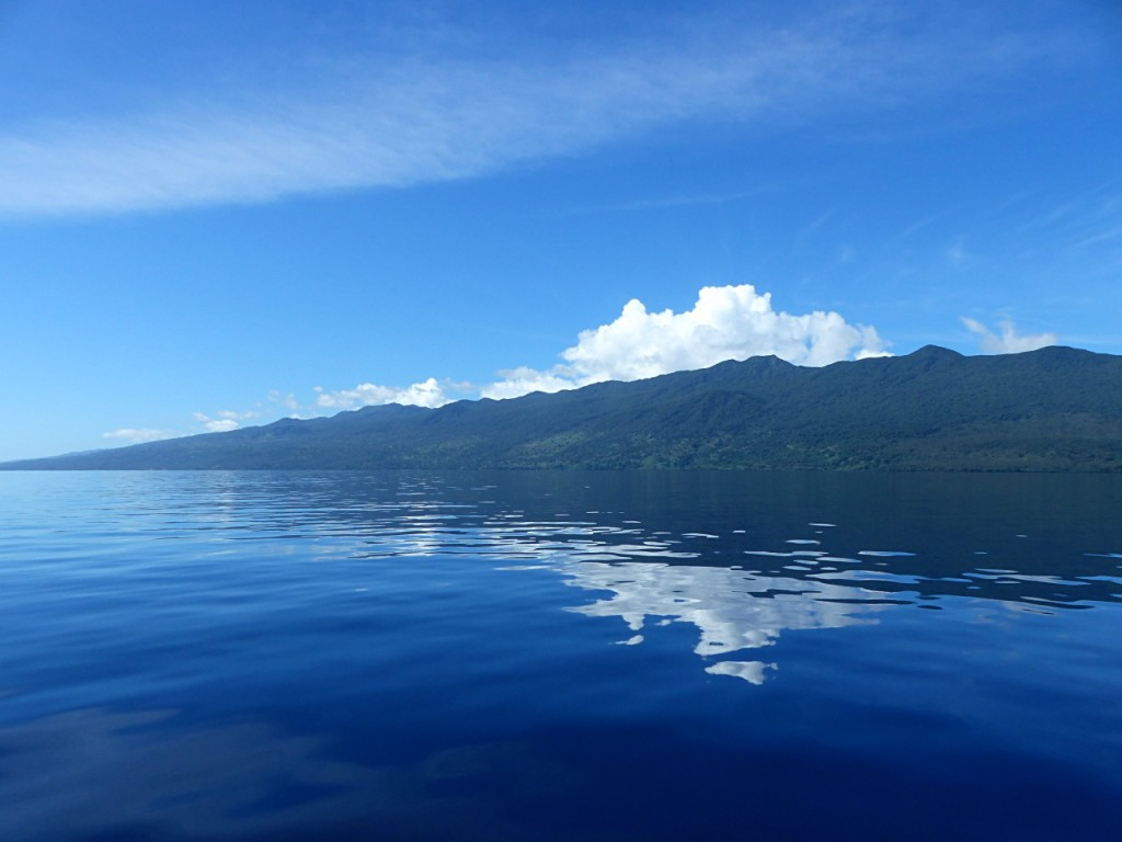 Motor sailing from Taveuni To Viani on an unusually calm day in the South Pacific