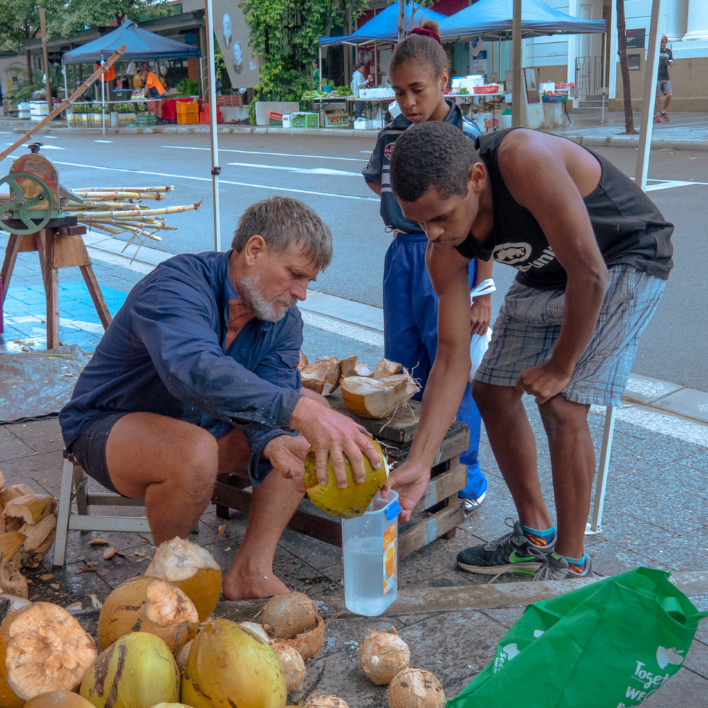 Fresh Coconuts At The Market
