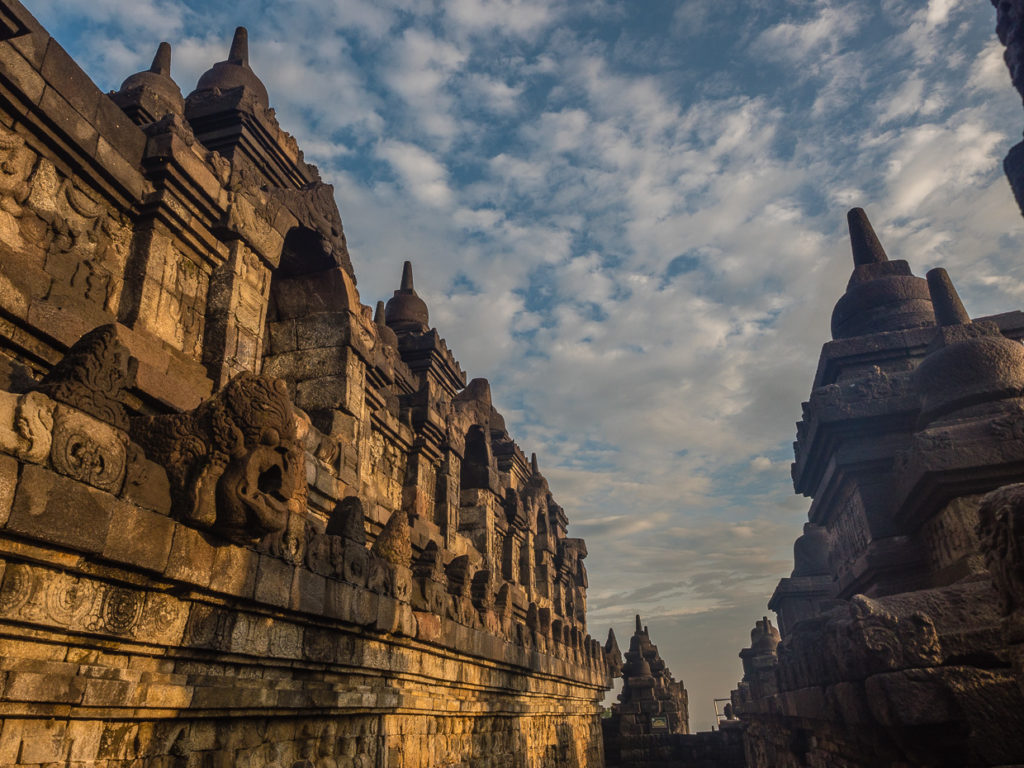 Sunrise On Walls Of Borobudur